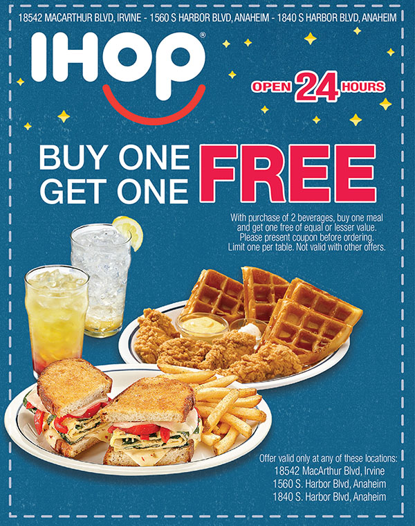 Buy One Meal Get One FREE - IHOP - selected locations